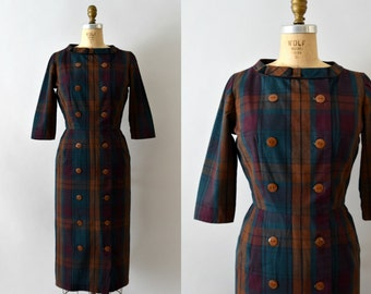 1950s Vintage Dress - 50s McArthur Plaid Wiggle Dress