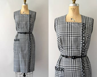 Vintage 1950s Dress - 50s Black and White Check Wiggle Dress