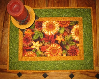 Autumn Fall Sunflowers and Leaves Quilted Table Topper, Table Square, Quilted 100% Cotton fabrics 22 x 16""