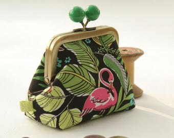 NEW Bronze metal frame coin purse/ jewelry purse/green bobbles/Flamingos in paradise
