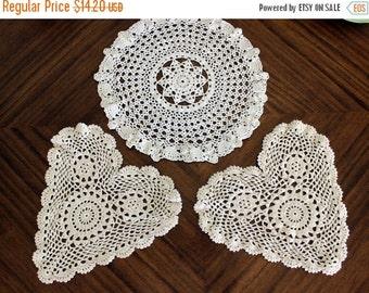 3 Assorted Crochet Doilies - Vintage Knit Doily, White Table Linens, Handmade Doilies 13687