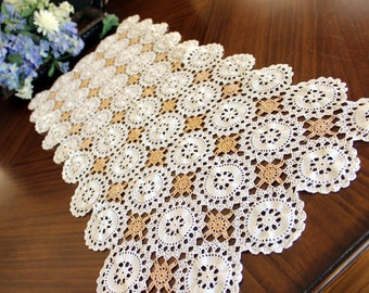 Table Runner or Table Scarf in Gold and White, Vintage Crochet  13566