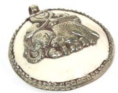 1 pendant - Large bold Tibetan Silver Repousse tribal naga conch shell pendant with elephant carving  - PM490