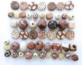 Kazuri Beads, 50 Kazuri Beads, Mushroom Cream and Brown Coloured Ceramic Beads, Kazuri African Beads No. 236