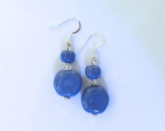 Kazuri Bead Earrings,  Cornflower Blue Coloured Ceramic Earrings