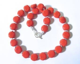 Kazuri Beaded Necklace, Fair Trade, Orange/Coral Coloured Ceramic Necklace