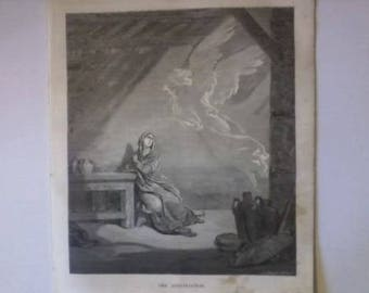 Rare Set of FOUR 19th Century Etching Prints of The Annunciation and Scripture
