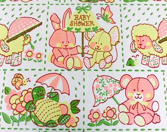 Baby Shower Vintage Wrapping Paper Gift Wrap, Pink Yellow Green, Baby Bunny Lamb Bear, 20 x 30 inches