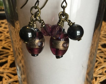 Purple glass earrings,Hematite earrings, Handmade earrings, Purple and black beaded earrings, Vintage brass earrings, Women's gift, earrings