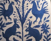 ROYAL BLUE  Hand Embroidered Otomi Pillow Cover 20 x 20 FAB!