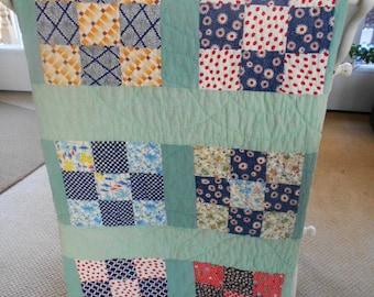 Vintage Quilt Handmade Green Nine Patch Block Great Fabrics Cutter?
