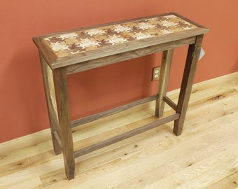 Custom Walnut End Table / Coffee Table / Side Table with Modern Lizard Tesselation Design. Made in the USA by Timber Green Woods