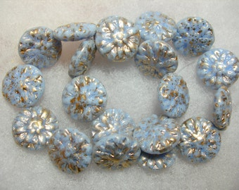 10 beads -  Czech Glass Alice Blue Gold Dahlia Flower Beads 14mm