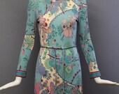 BLACK FRIDAY 15 60s AVERARDO Bessi silk jersey signed print body con Dress w/ self belt in watery blues vintage 1960s