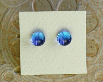 Dichroic Glass Earrings, Light Sky Blue DGE-989