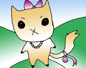 lindseycormier illustration art print cat kitten simple 8.5x11