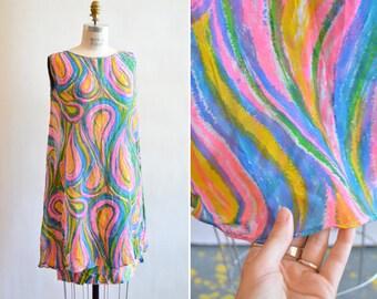 Vintage 1960s PSYCHEDELIC chiffon mini dress
