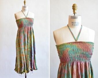 Vintage summer rayon HALTER dress