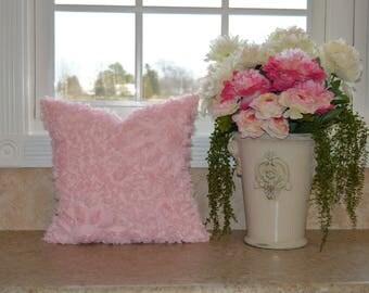 "Pink Shabby Romantic Pillow Cover 18"" X 18"" Romantic Pink Pillow Cover, Shabby Pink, Cushion Cover,  Pink Ruffles Shabby Pillow"