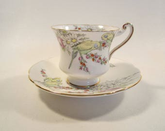 Vintage Paragon China Demitasse Cip and Saucer Set Birth of Princess Margaret Tea Party