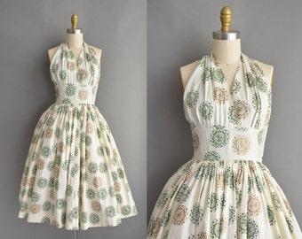 vintage 1950s dress / 50s novelty print cotton halter vintage dress