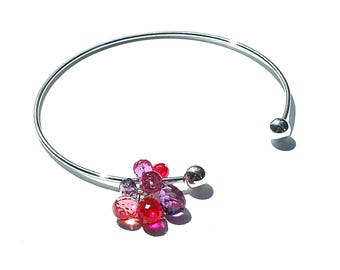 "Sterling Silver ""Berries"" Cuff Bangle / Quartz Charm Bracelet / Pink / Purple / Fuchsia / Wire Wrapped / Adjustable / Gifts for Her / OOAK"