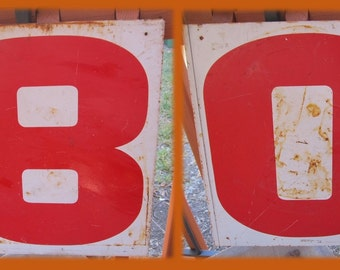 Vintage Metal Gas Station Numerals, Salvaged, Double Side Metal Signs, Rusty Chippy Rustic, Numbers, 0/8