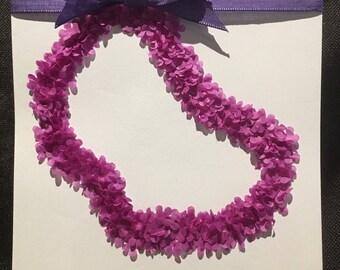"Purple Flowers Lei Greeting Card 5""x5"" blank inside Birthday Congratulations Anniversary"