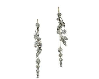 30% Off Winter Sale Antique Diamond Wedding Earrings - Victorian floral chandelier earrings 18K gold silver rose cut diamonds ca.1850