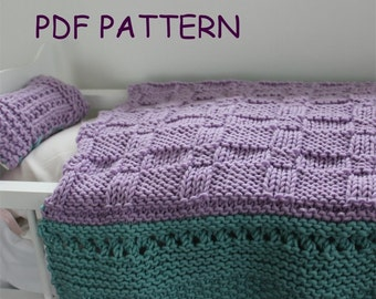 KNITTING PATTERN- Baby Doll Blanket and Pillow Set.  Baby Doll Set.  PDF knitting pattern