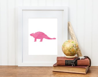 Girl Dinosaur Art Print - Watercolor Ankylosaurus Printable - Girl Dinosaur Decor - Digital Download - Girl Dinosaur Room
