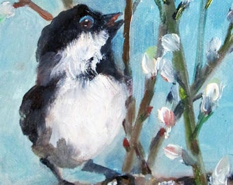 Chubby birds original spring landscape  7x5 oil painting Art by Delilah