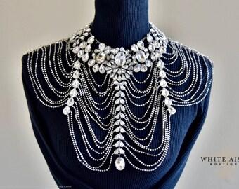 Crystal Bridal Shoulder Necklace, Statement Necklace, Rhinestone Necklace, Vintage Inspired Necklace, Wedding Necklace, Backdrop Necklace