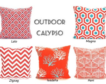OUTDOOR Pillow Covers, Beach Decor, Throw Pillows Nautical Cushions Red Coral Aqua White Calypso, Mix & Match One or More ALL SIZES