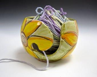 Ceramic Yellow Sunflower Yarn Bowl - Pottery Yarn Bowl - Knitting Bowl - Clay Crochet Bowl - Majolica - String Holder