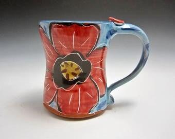 Large Red Poppy Coffee Mug - Ceramic Mug - Pottery Tankard - 18 ounces - Majolica Mug - Tea Cup - Gift for Her - Housewarming Gift - Flower
