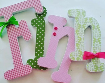 Wooden Letters for Nursery,  PINK and GREEN Theme, Baby Girl Bedroom Decor, Feminine, Girly, Pastel, Personalized wall letters