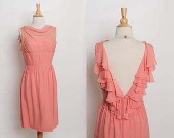 vintage 1950s peach chiffon dress | open back