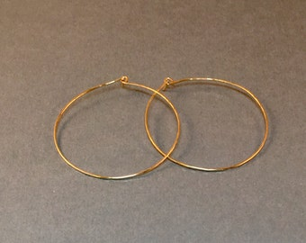 Hammered 14k Gold Filled Earrings in Five Sizes .75 Inch, 1 Inch, 1.5 Inch, 1.75 Inch and 2 Inch 14kt Gold Filled Jewelry