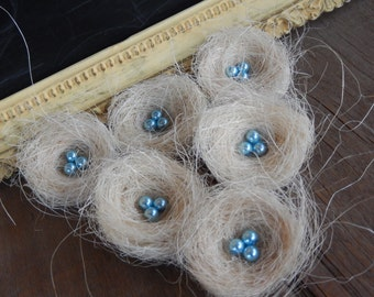 Bird Nests Chic Shabby White with Blue Pearl Eggs Romantic Home Decor Set of 6 by PerchandPatina