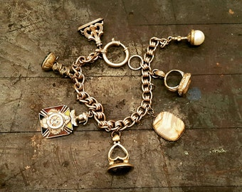Antique Watch Fob Charm Bracelet