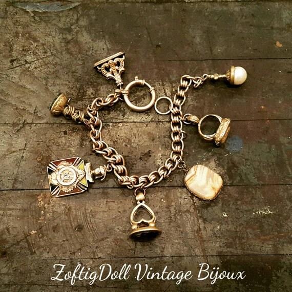Vintage watch fob charm bracelets