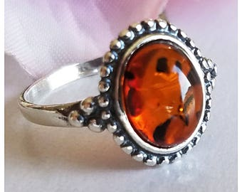Amber Ring - Sterling Silver Ring - Baltic Amber ring - Amber Jewelry - Modern ring - Genuine Amber Ring - Real Amber ring - Amber jewelry