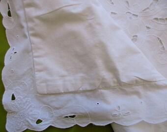 vintage cotton PILLOW SHAM - standard, white, cutout flowers