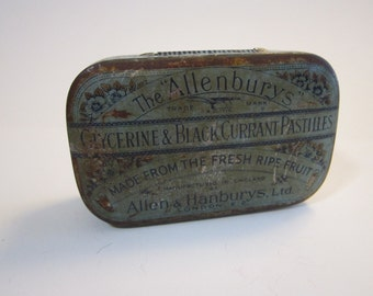 vintage candy tin - Allenburys PASTILLES - glycerine & black currant pastilles