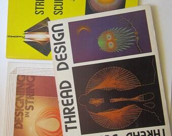 3 vintage books - STRING SCULPTURE, Thread Design, Designing in String, string art - circa 1970s