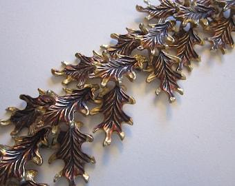 vintage OAK LEAVES bracelet - 6.75 inches - wide bracelet - gold tone and brown, autumn colors