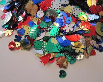 sequin and spangle mix - 3/4 CUP - round sequins, leaves, flowers, spangles, wheel of fortune, hearts