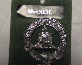 MacNeil Scottish Clan badge-pewter, vintage