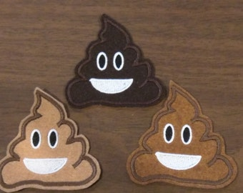 Three pack Poop emoji embroidered iron on patches